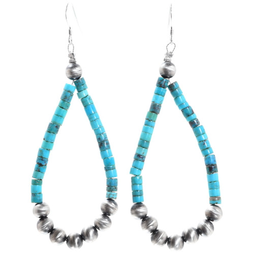 Turquoise Heishi Hoop Earrings 35308