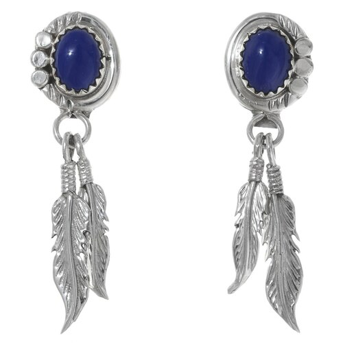 Lapis Sterling Silver Feather Earrings 35313