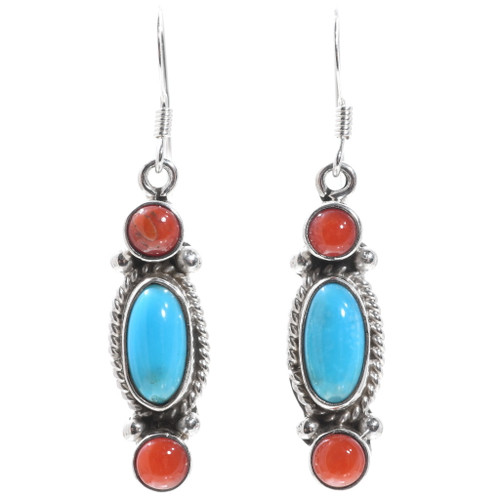 Coral Turquoise Silver Earrings 35314