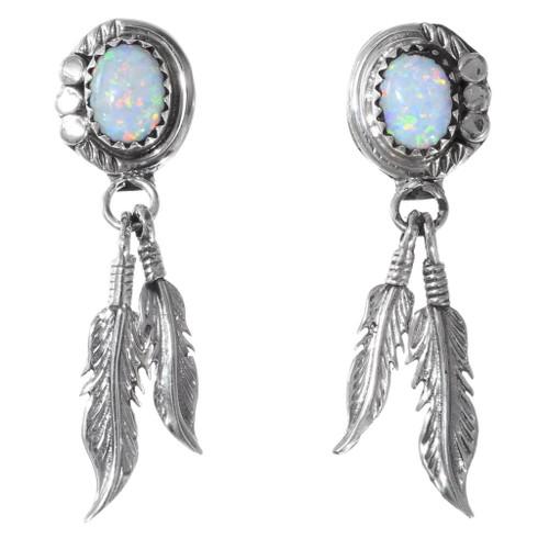 White Opal Navajo Feather Earrings 35316