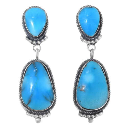 Blue Turquoise Post Dangle Earrings 35317