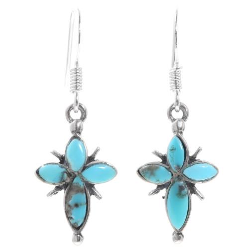 Turquoise Silver Cross Earrings 35318