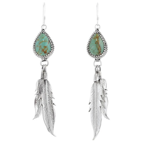 Green Turquoise Silver Feather Earrings 35326