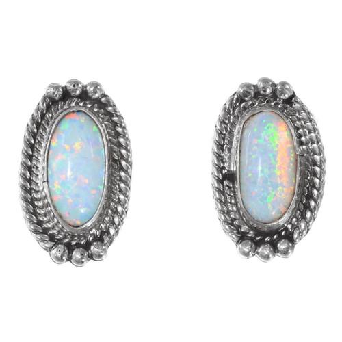 Sterling Silver Opal Earrings 35327
