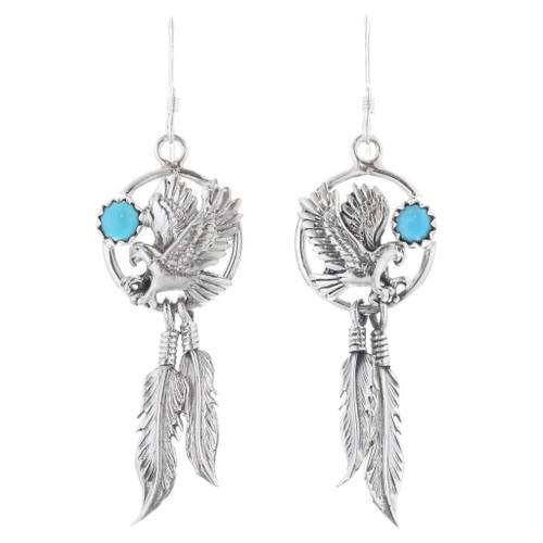 Silver Eagle Turquoise Dangle Earrings 35328