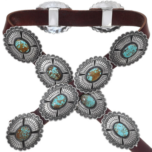 Vintage Silver Turquoise Concho Belt 35253