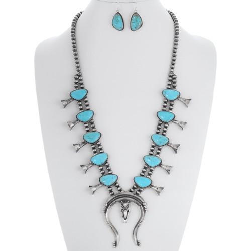Turquoise Squash Blossom Necklace Set 35354