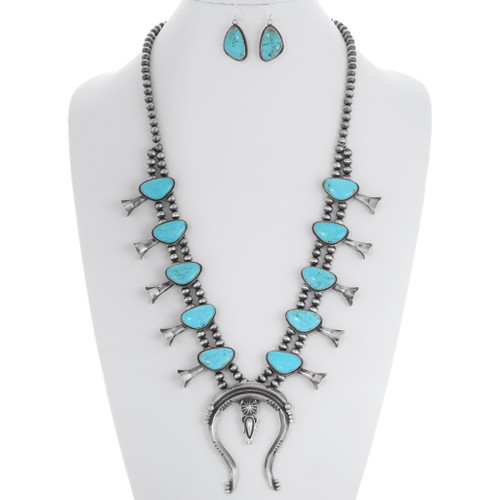 Turquoise Squash Blossom Necklace Set 35354