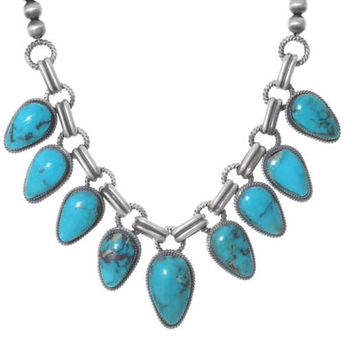 Turquoise Silver Navajo Necklace Set 35358