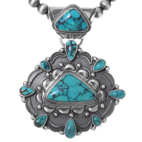 Spiderweb Turquoise Pendant Necklace 35359