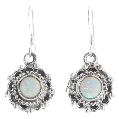 White Opal Sterling Silver Earrings 35364