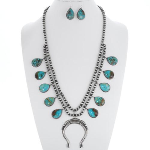 Turquoise Squash Blossom Necklace Set 35371