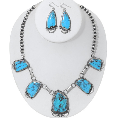 Native American Turquoise Necklace Earrings Set 35372