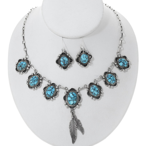 Genuine Turquoise Feather Necklace Set 27697