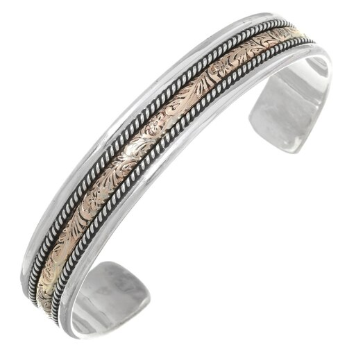 Hammered Gold Silver Navajo Cuff 35491
