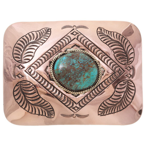 Large Navajo Turquoise Copper Belt Buckle 35670
