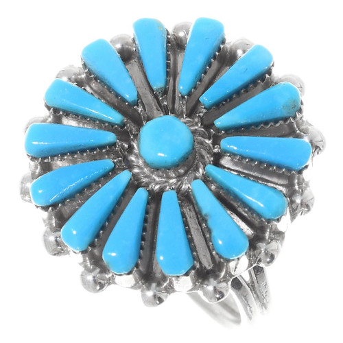 Zuni Turquoise Silver Ladies Ring 35732