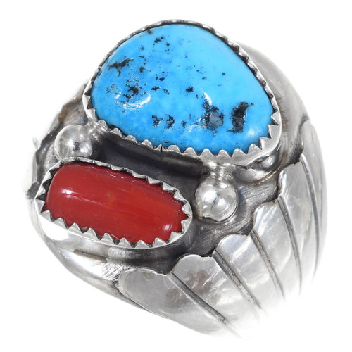 Navajo Turquoise Coral Ring 35746