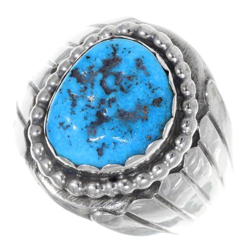 Kingman Turquoise Nugget Navajo Mens Ring 35748