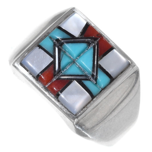 Zuni Inlaid Turquoise Shell Silver Mens Ring 35764