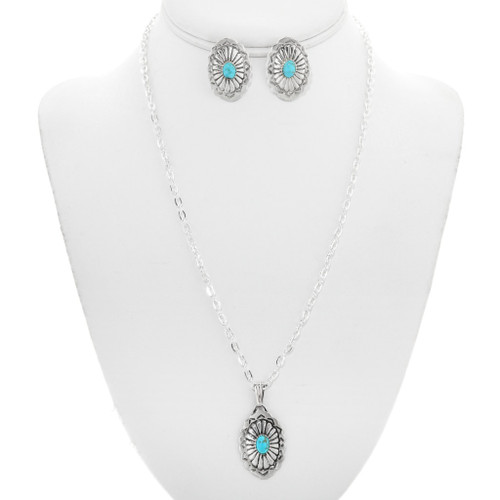 Navajo Turquoise Silver Concho Pendant Set 35791