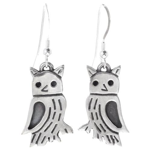 Navajo Sterling Silver Owl Earrings 35806