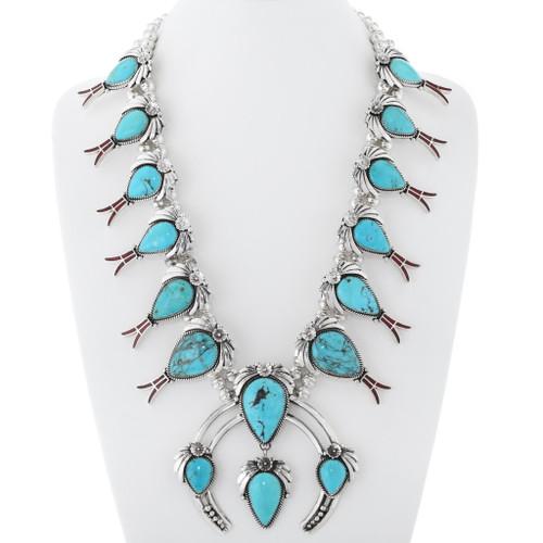 Turquoise Squash Blossom Necklace 23814