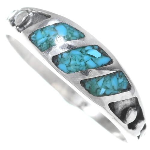 Navajo Inlaid Turquoise Band Ring 35817