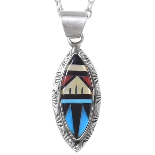 Inlaid Zuni Turquoise Silver Pendant 35836