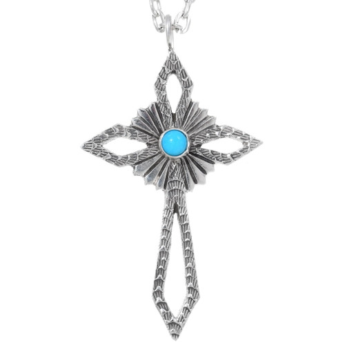 Navajo Turquoise Sterling Silver Cross Pendant 35843