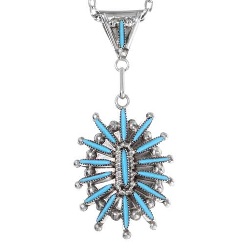 Zuni Turquoise Needlepoint Pendant 35846