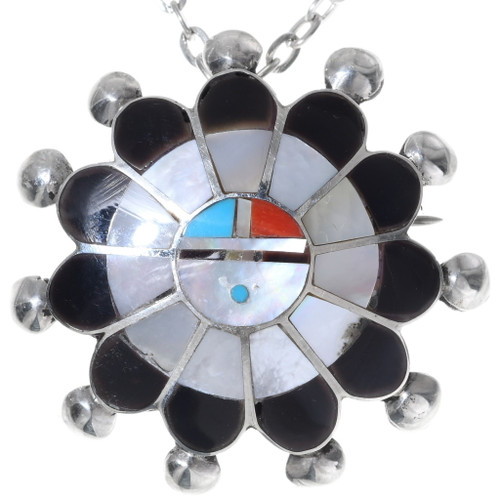 Zuni Mother of Pearl Sunface Pendant 35853
