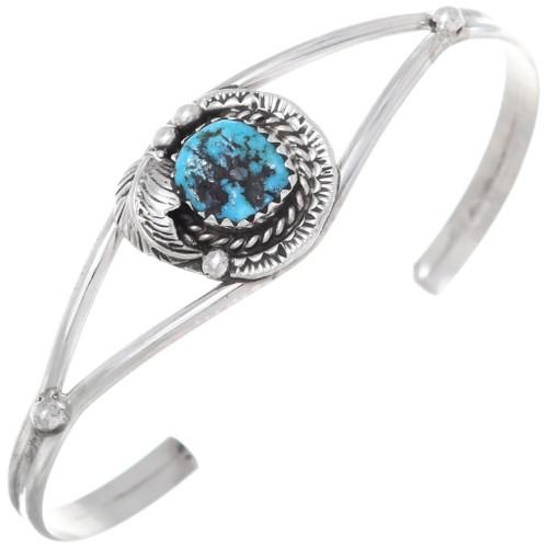 Navajo Blue Turquoise Silver Cuff Bracelet 35866