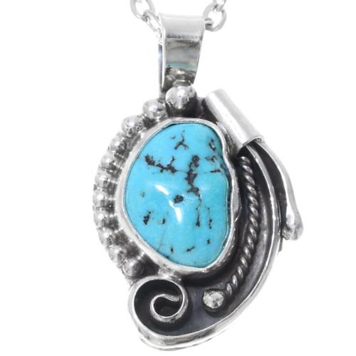 Navajo Sleeping Beauty Turquoise Pendant 35867