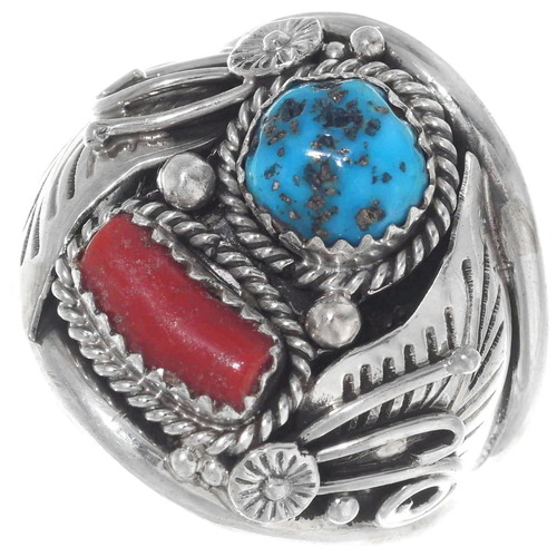 Turquoise Coral Navajo Ring 35873
