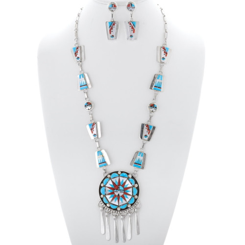 Native American Inlay Turquoise Sunface Necklace 35921
