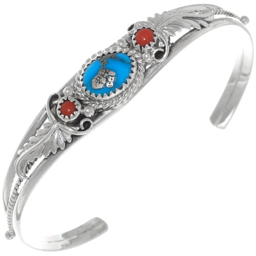Turquoise Coral Silver Ladies Bracelet 33026