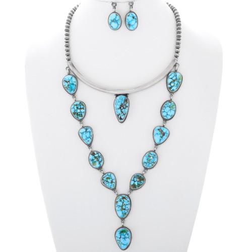 Turquoise Silver Navajo Designer Necklace Set 35949