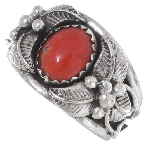 Red Coral Ladies Navajo Ring 35959