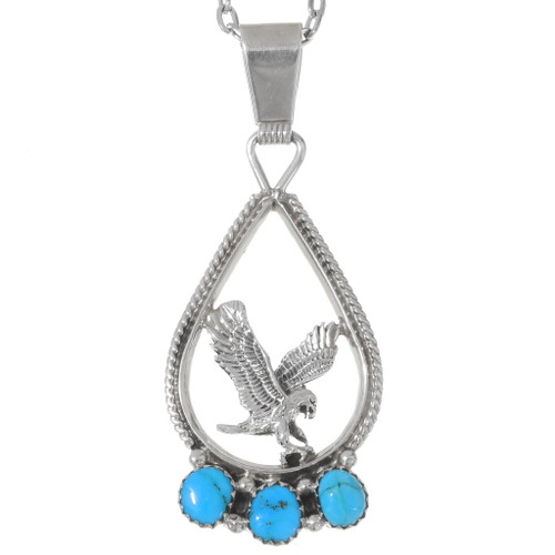 Navajo Turquoise Sterling Silver Eagle Pendant 35987