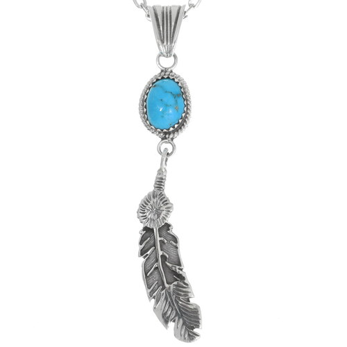 Navajo Turquoise Silver Feather Pendant 35989