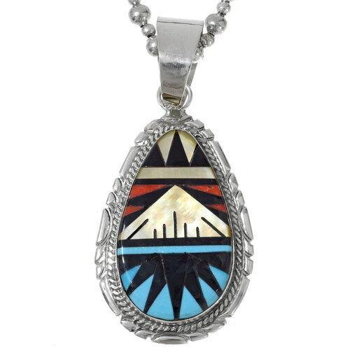 Turquoise Shell Inlay Zuni Pendant 35990