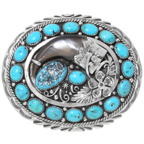 Turquoise Bear Claw Belt Buckle 35998