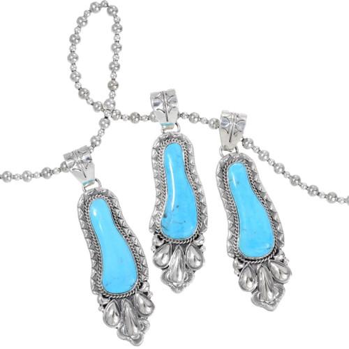 Kingman Turquoise Navajo Sterling Silver Pendant 38006