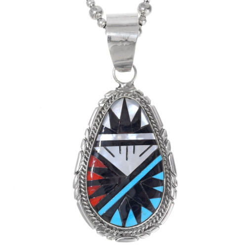 Geometric Inlay Native American Pendant 38007