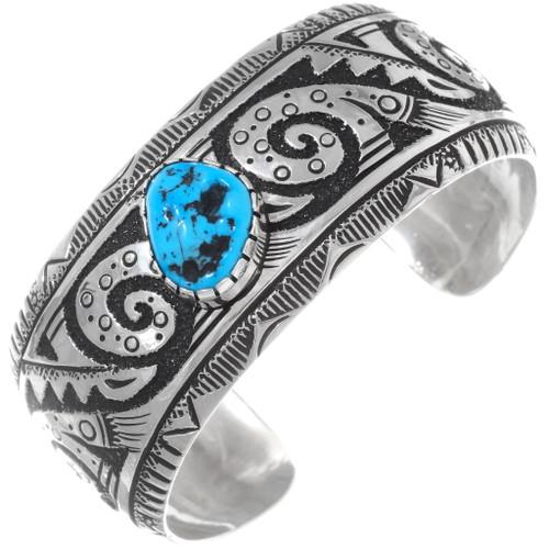 Turquoise Sterling Silver Navajo Bracelet 38015