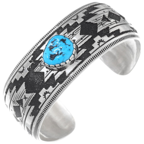 Authentic Navajo Turquoise Silver Cuff Bracelet 38018