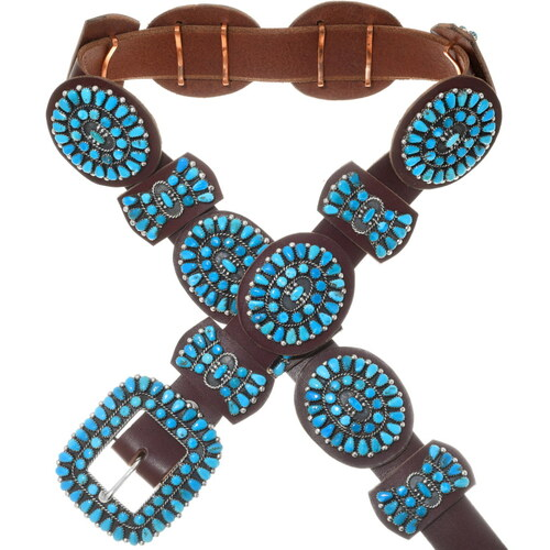 Old Pawn Native American Turquoise Concho Belt 38026