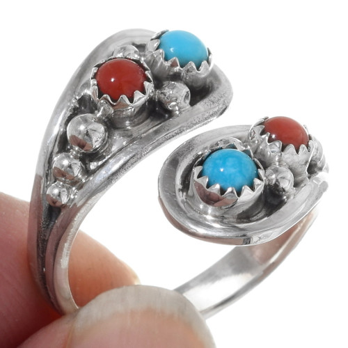 Navajo Turquoise Coral Bypass Ring 38033
