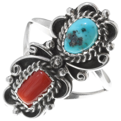 Turquoise Coral Native American Ring 38040